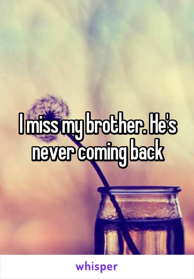 I miss my brother. He's never coming back