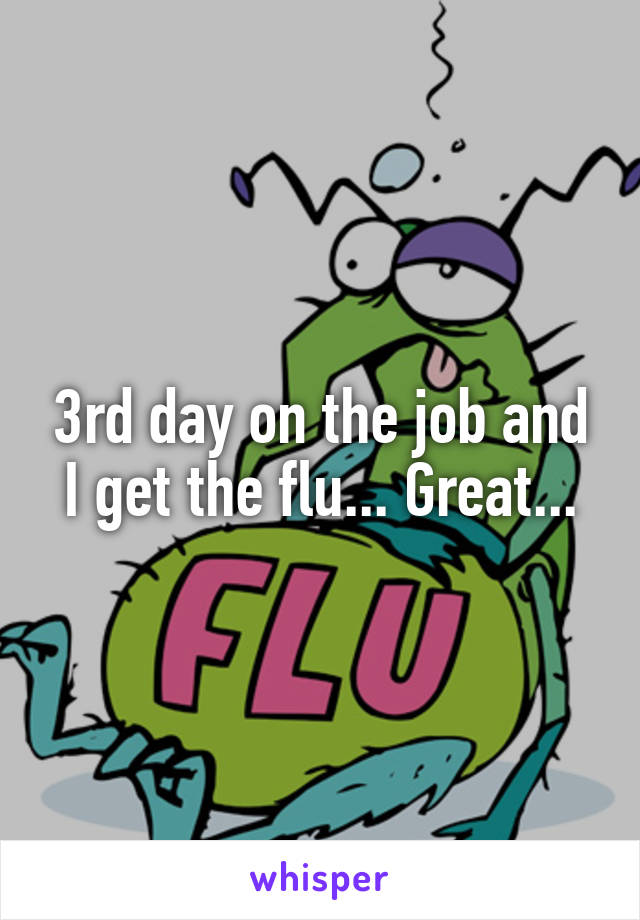 3rd day on the job and I get the flu... Great...