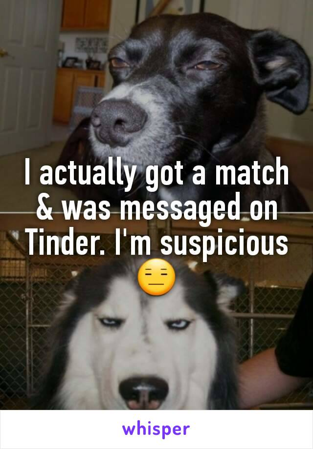 I actually got a match & was messaged on Tinder. I'm suspicious 😑