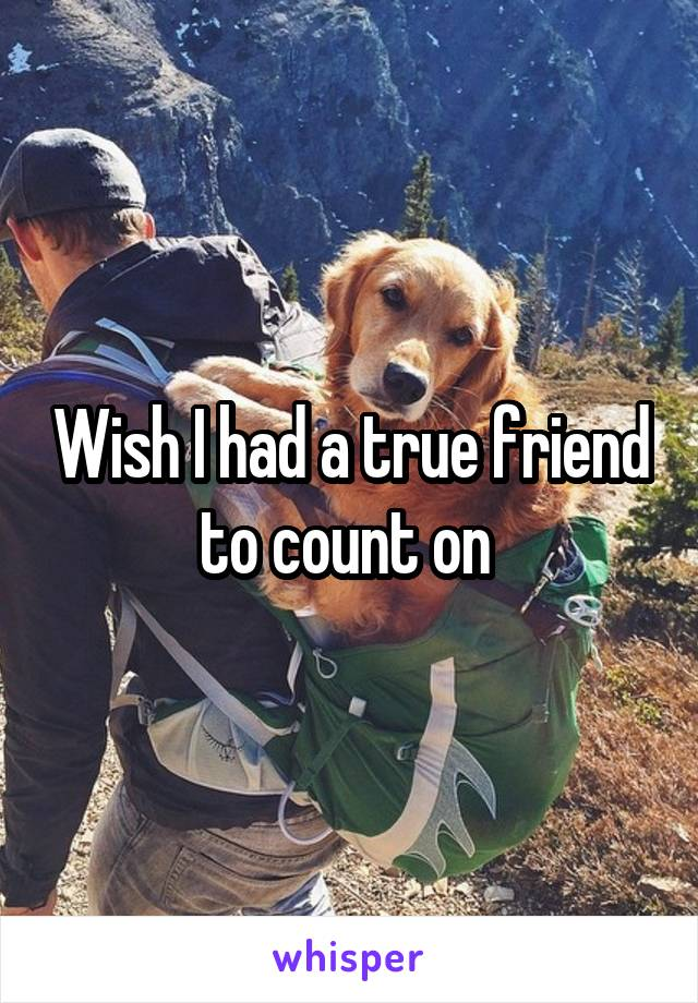 Wish I had a true friend to count on