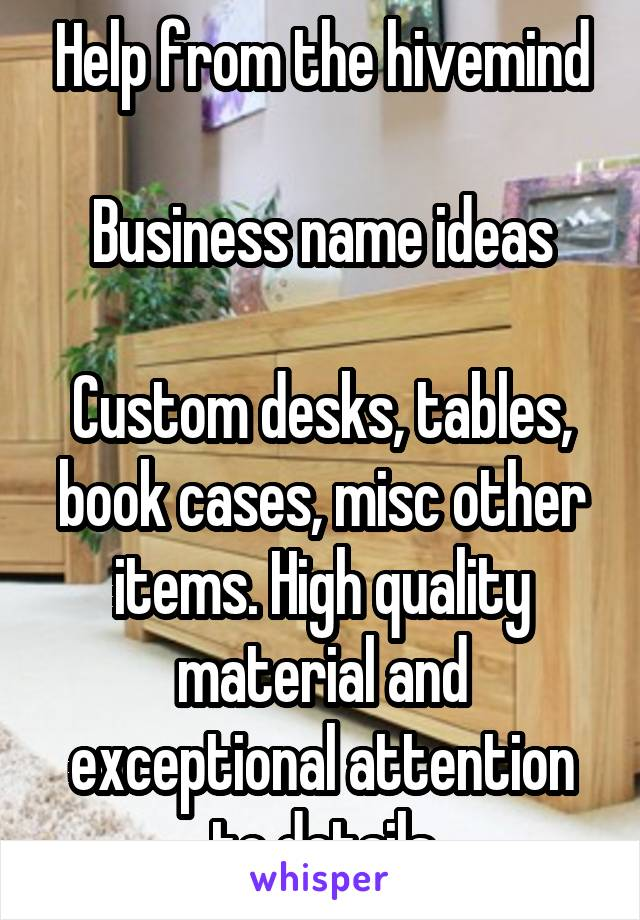Help from the hivemind  Business name ideas  Custom desks, tables, book cases, misc other items. High quality material and exceptional attention to details