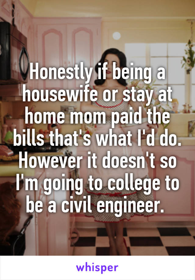 Honestly if being a housewife or stay at home mom paid the bills that's what I'd do. However it doesn't so I'm going to college to be a civil engineer.