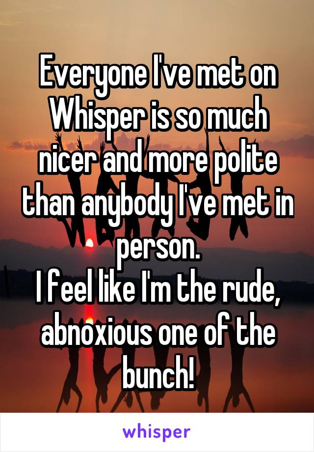 Everyone I've met on Whisper is so much nicer and more polite than anybody I've met in person. I feel like I'm the rude, abnoxious one of the bunch!