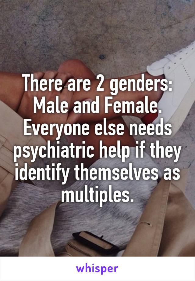 There are 2 genders: Male and Female. Everyone else needs psychiatric help if they identify themselves as multiples.