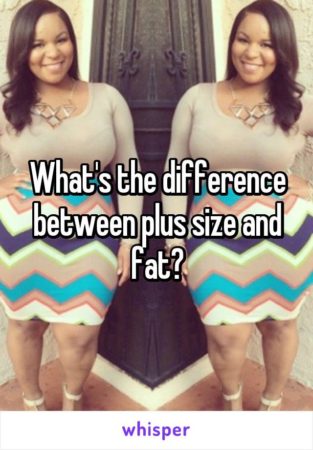 What's the difference between plus size and fat?
