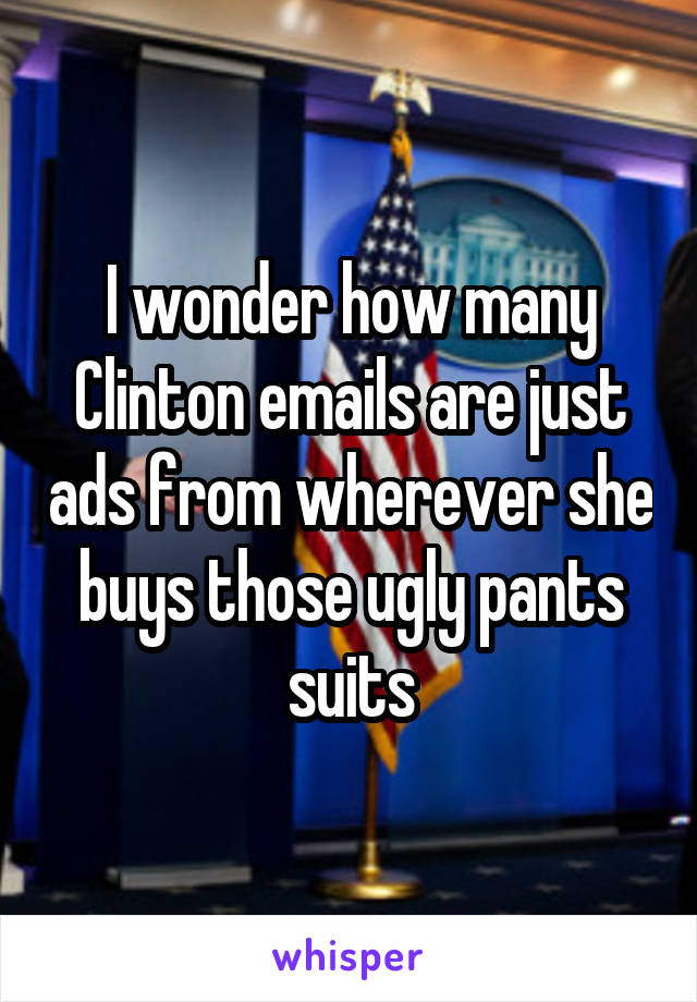 I wonder how many Clinton emails are just ads from wherever she buys those ugly pants suits
