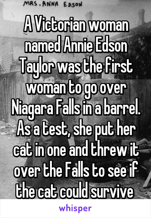 A Victorian woman named Annie Edson Taylor was the first woman to go over Niagara Falls in a barrel. As a test, she put her cat in one and threw it over the Falls to see if the cat could survive