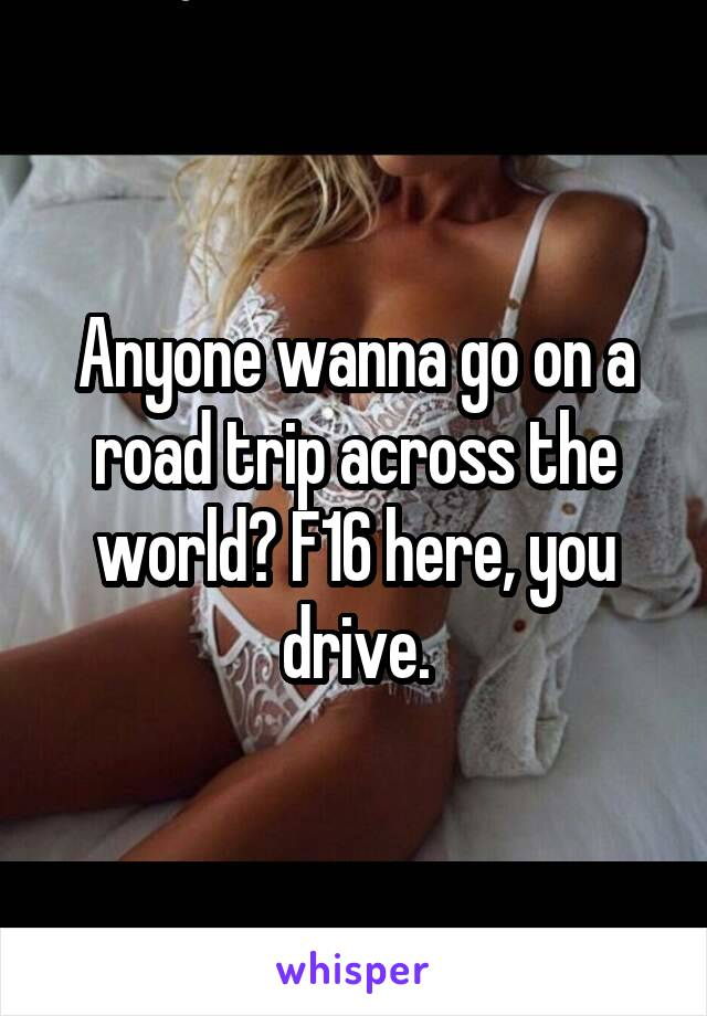 Anyone wanna go on a road trip across the world? F16 here, you drive.