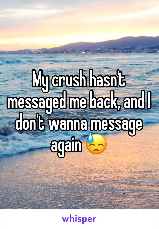 My crush hasn't messaged me back, and I don't wanna message again 😓