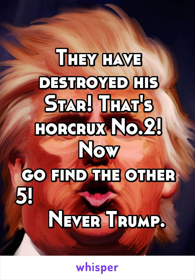 They have destroyed his Star! That's horcrux No.2! Now go find the other 5!                               Never Trump.