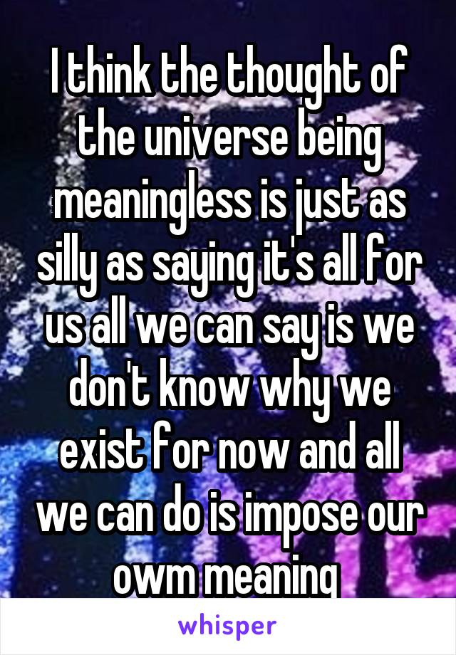 I think the thought of the universe being meaningless is just as silly as saying it's all for us all we can say is we don't know why we exist for now and all we can do is impose our owm meaning
