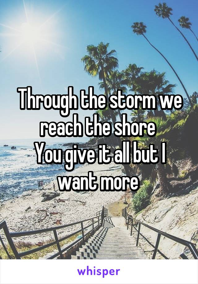 Through the storm we reach the shore  You give it all but I want more