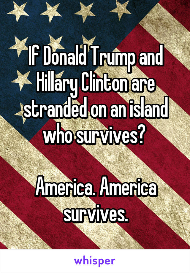 If Donald Trump and Hillary Clinton are stranded on an island who survives?   America. America survives.
