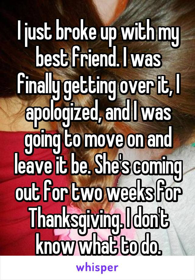 I just broke up with my best friend. I was finally getting over it, I apologized, and I was going to move on and leave it be. She's coming out for two weeks for Thanksgiving. I don't know what to do.
