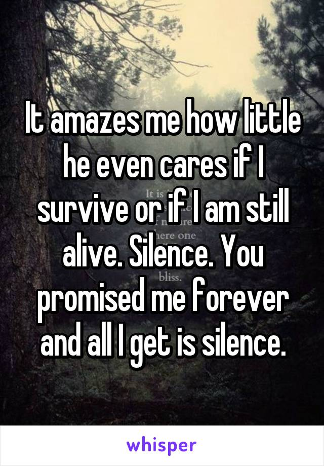 It amazes me how little he even cares if I survive or if I am still alive. Silence. You promised me forever and all I get is silence.