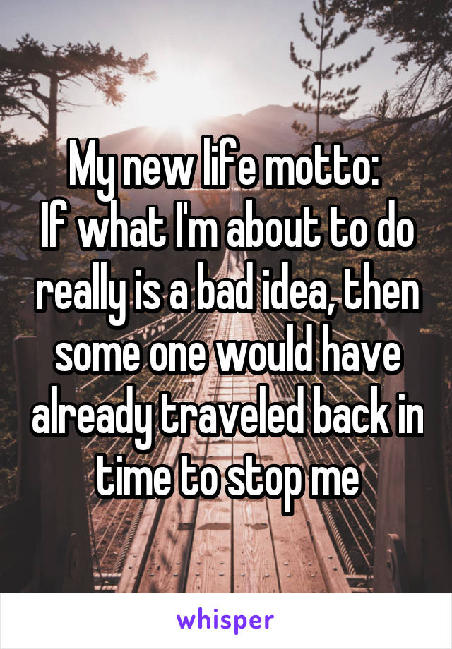 My new life motto:  If what I'm about to do really is a bad idea, then some one would have already traveled back in time to stop me