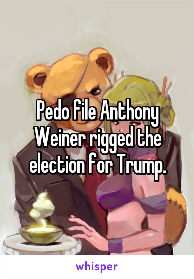Pedo file Anthony Weiner rigged the election for Trump.