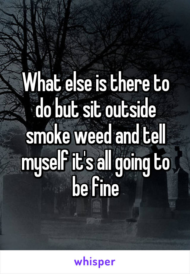 What else is there to do but sit outside smoke weed and tell myself it's all going to be fine