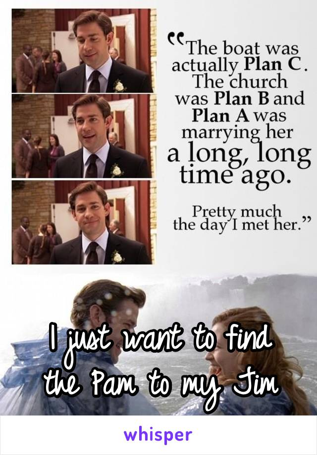 I just want to find the Pam to my Jim