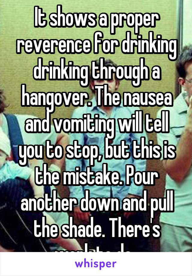 It shows a proper reverence for drinking drinking through a hangover. The nausea and vomiting will tell you to stop, but this is the mistake. Pour another down and pull the shade. There's work to do.