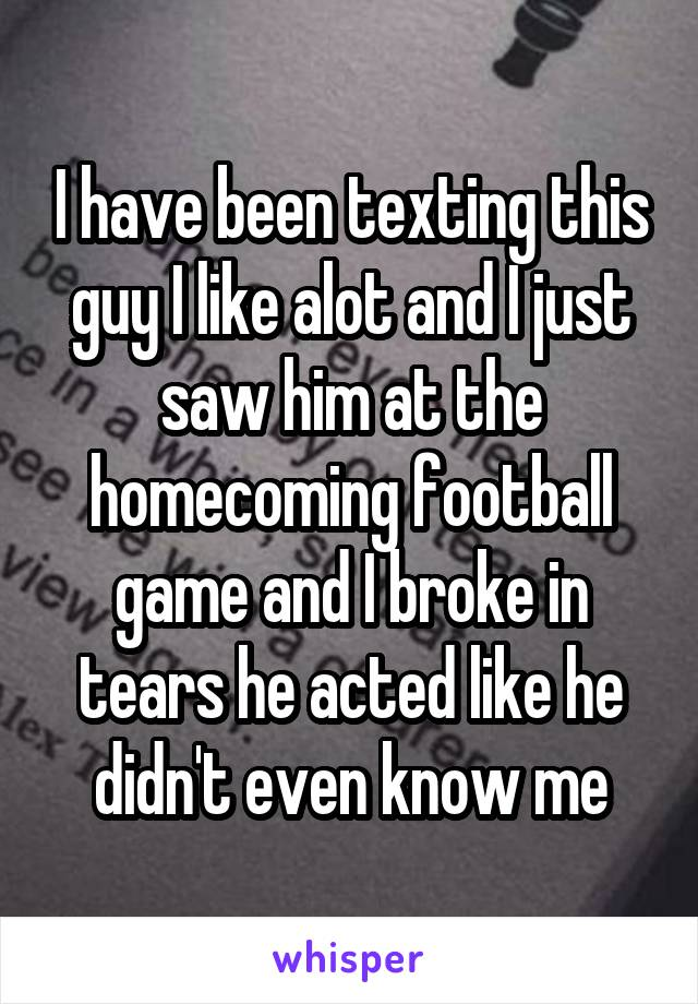 I have been texting this guy I like alot and I just saw him at the homecoming football game and I broke in tears he acted like he didn't even know me