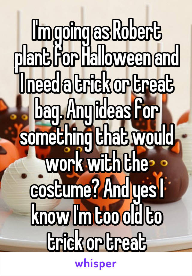 I'm going as Robert plant for Halloween and I need a trick or treat bag. Any ideas for something that would work with the costume? And yes I know I'm too old to trick or treat
