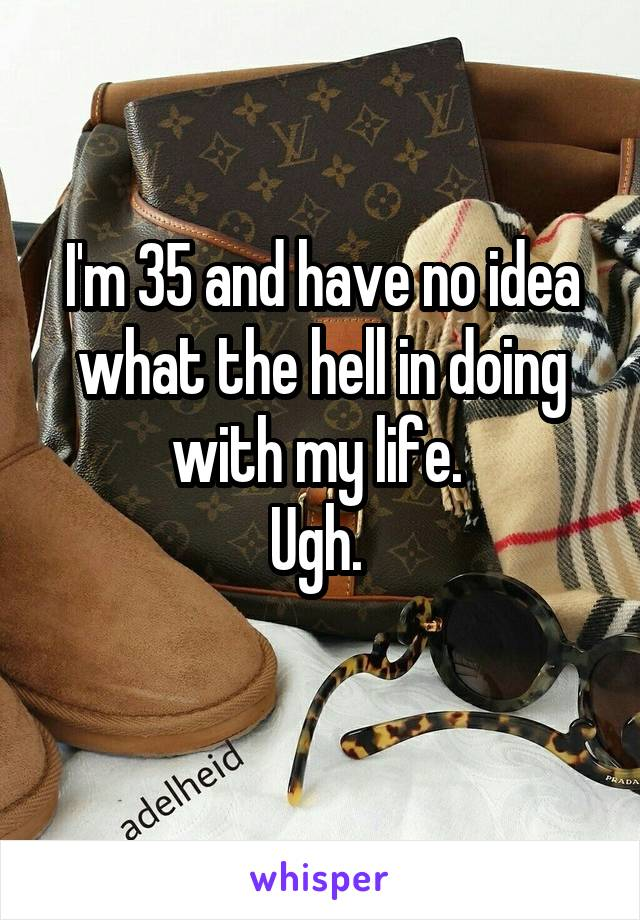 I'm 35 and have no idea what the hell in doing with my life.  Ugh.