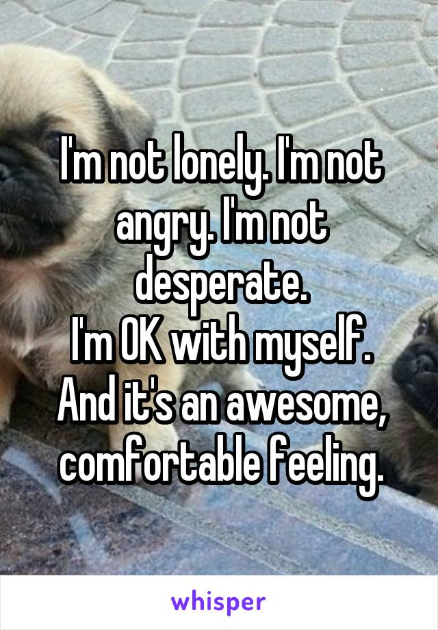 I'm not lonely. I'm not angry. I'm not desperate. I'm OK with myself. And it's an awesome, comfortable feeling.