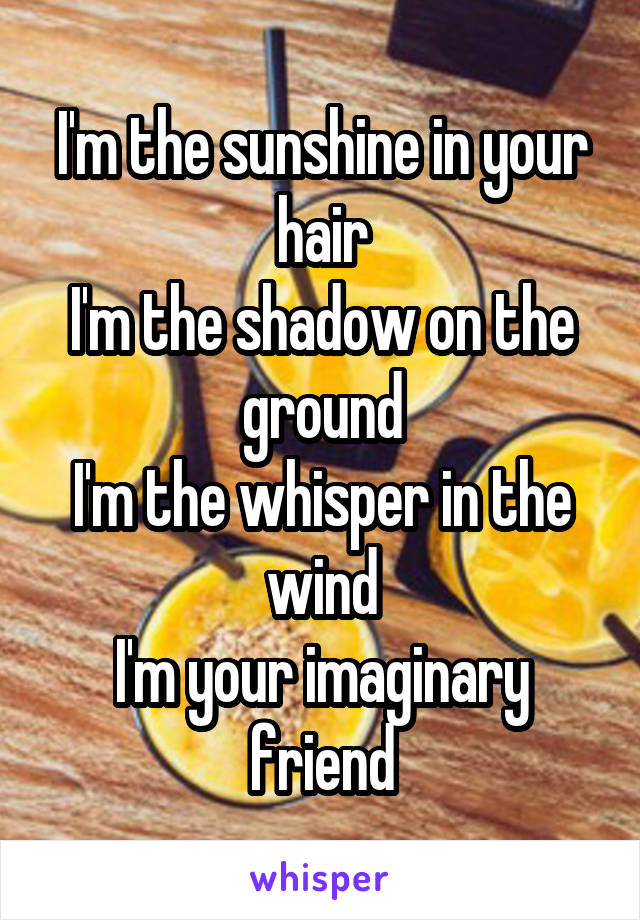 I'm the sunshine in your hair I'm the shadow on the ground I'm the whisper in the wind I'm your imaginary friend