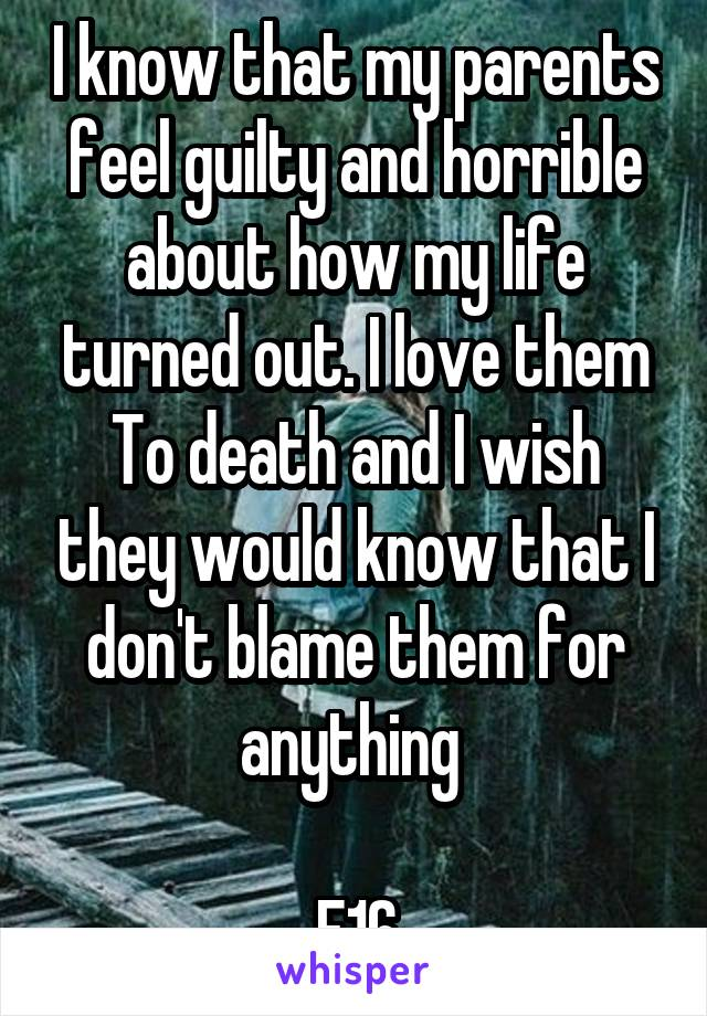 I know that my parents feel guilty and horrible about how my life turned out. I love them To death and I wish they would know that I don't blame them for anything   F16