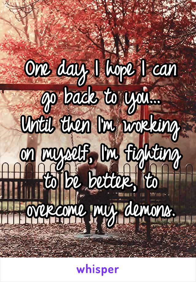 One day I hope I can go back to you... Until then I'm working on myself, I'm fighting to be better, to overcome my demons.