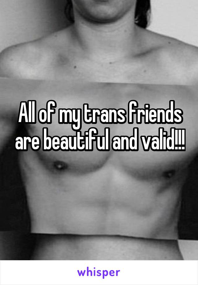 All of my trans friends are beautiful and valid!!!