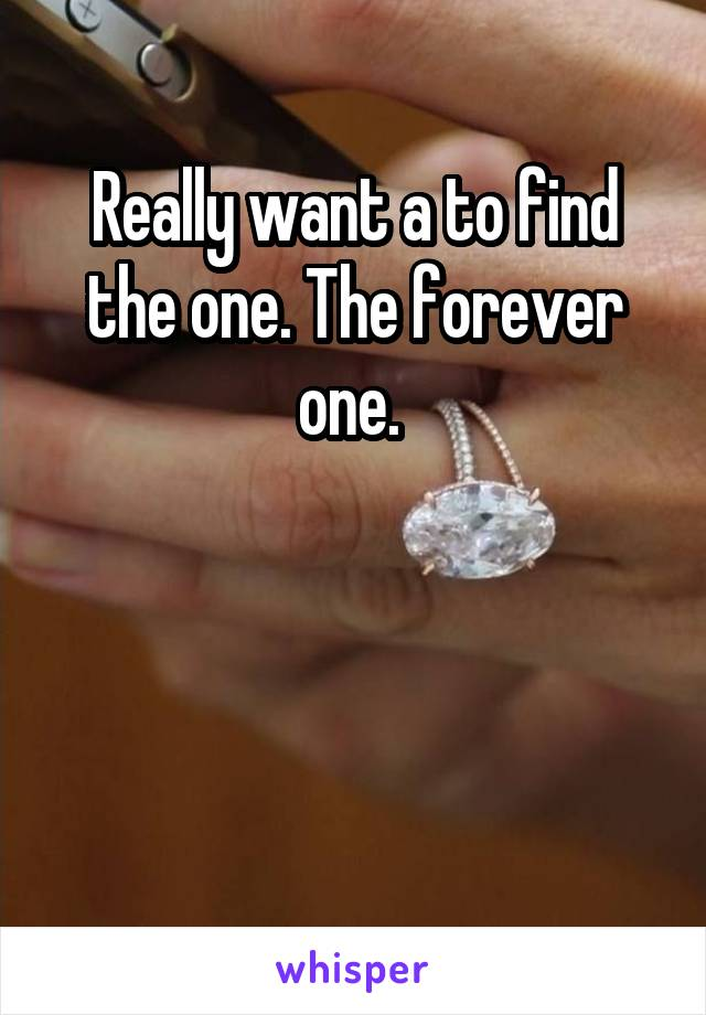 Really want a to find the one. The forever one.