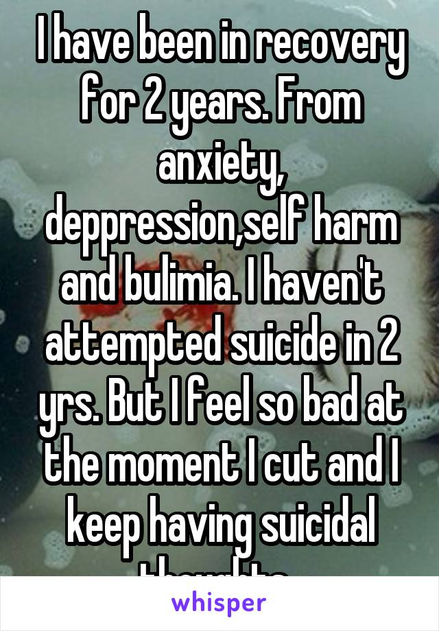 I have been in recovery for 2 years. From anxiety, deppression,self harm and bulimia. I haven't attempted suicide in 2 yrs. But I feel so bad at the moment I cut and I keep having suicidal thoughts.