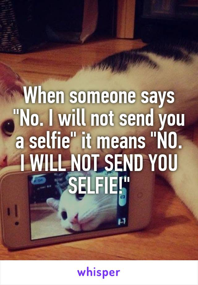 """When someone says """"No. I will not send you a selfie"""" it means """"NO. I WILL NOT SEND YOU SELFIE!"""""""
