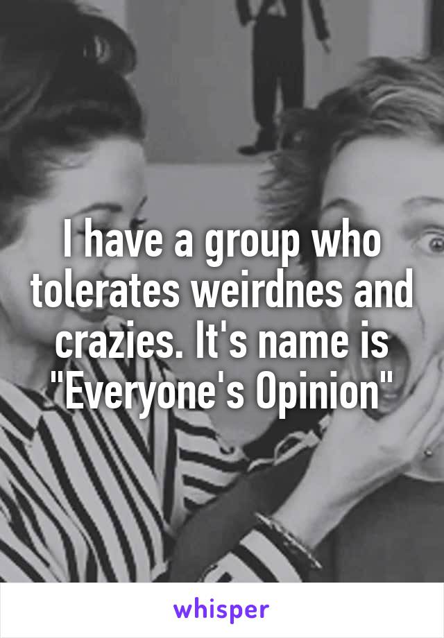 """I have a group who tolerates weirdnes and crazies. It's name is """"Everyone's Opinion"""""""