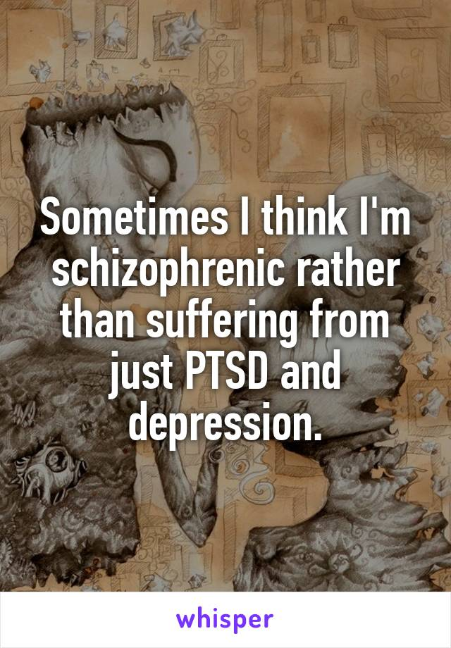 Sometimes I think I'm schizophrenic rather than suffering from just PTSD and depression.