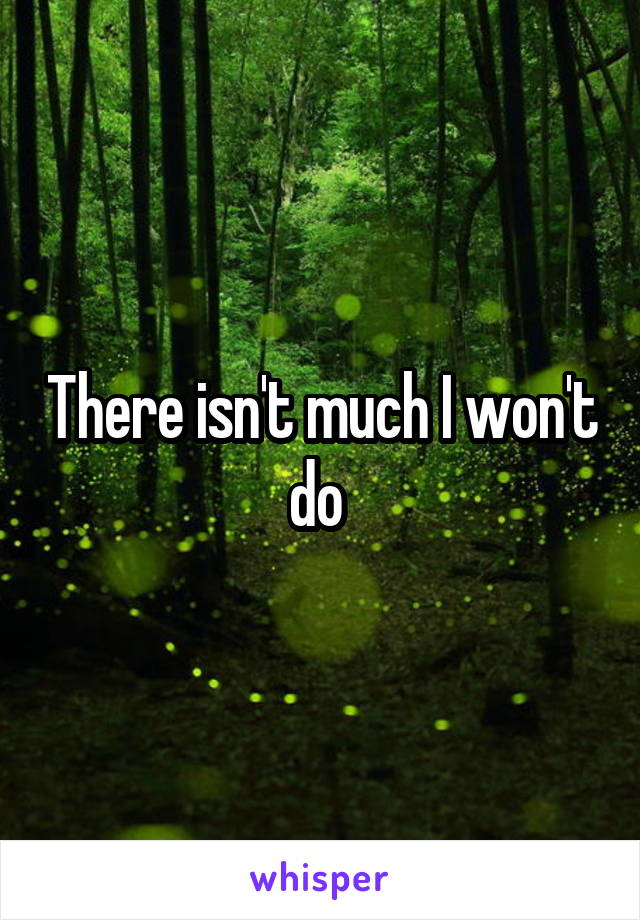 There isn't much I won't do