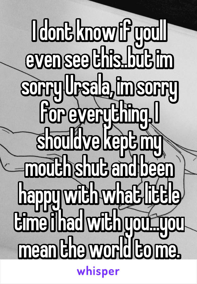 I dont know if youll even see this..but im sorry Ursala, im sorry for everything. I shouldve kept my mouth shut and been happy with what little time i had with you...you mean the world to me.