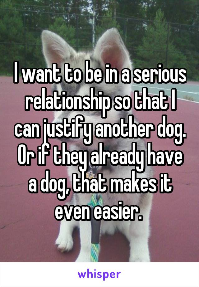 I want to be in a serious relationship so that I can justify another dog. Or if they already have a dog, that makes it even easier.