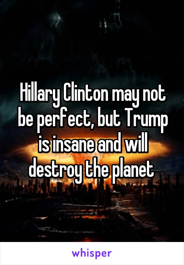 Hillary Clinton may not be perfect, but Trump is insane and will destroy the planet