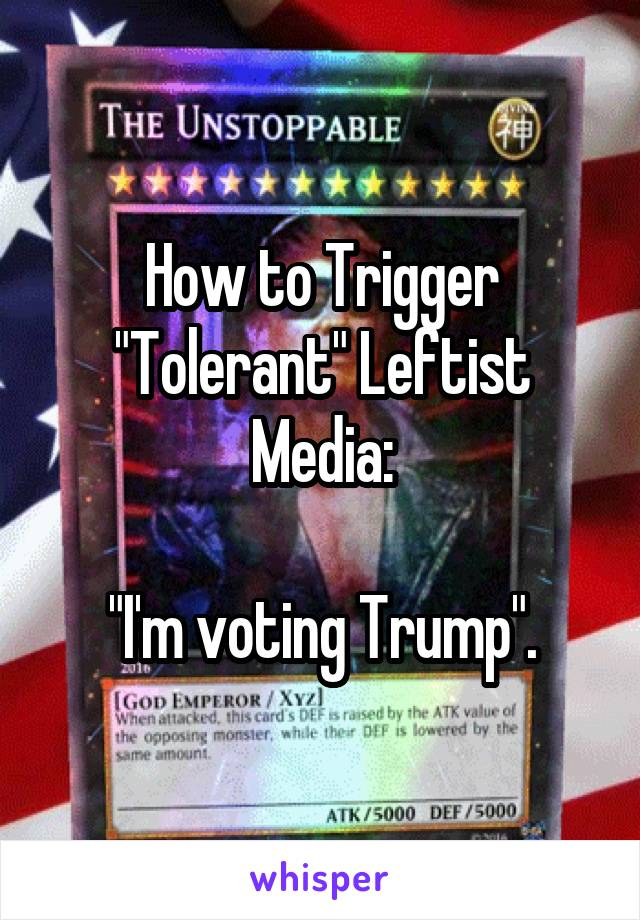 "How to Trigger ""Tolerant"" Leftist Media:  ""I'm voting Trump""."
