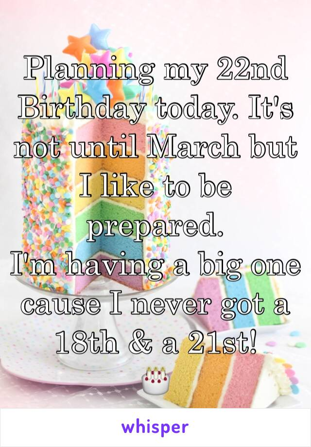 Planning my 22nd Birthday today. It's not until March but I like to be prepared.  I'm having a big one cause I never got a 18th & a 21st!  🎂