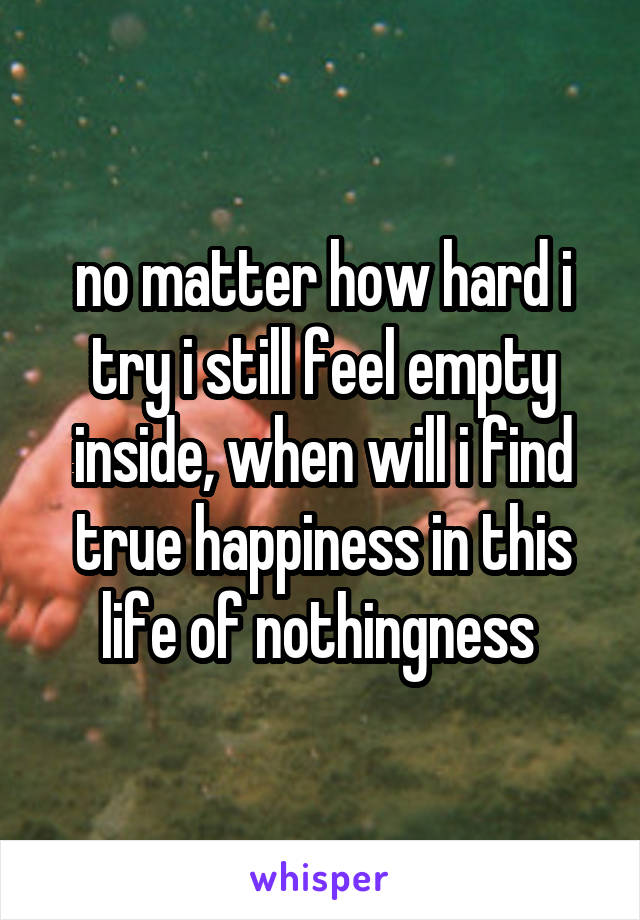 no matter how hard i try i still feel empty inside, when will i find true happiness in this life of nothingness