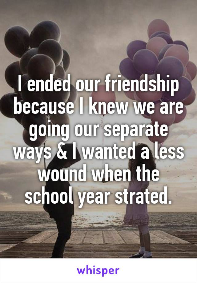 I ended our friendship because I knew we are going our separate ways & I wanted a less wound when the school year strated.