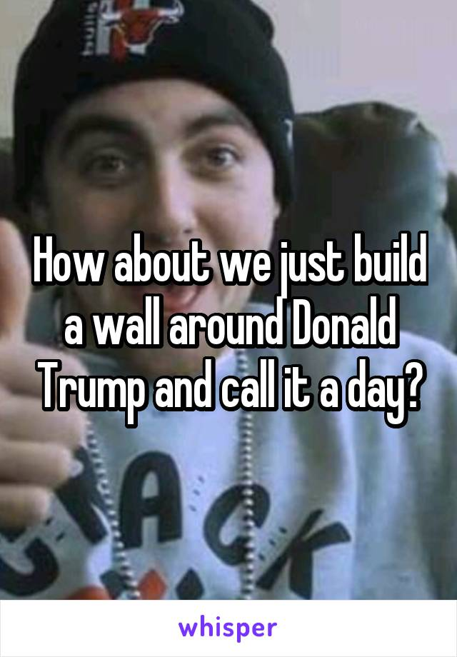 How about we just build a wall around Donald Trump and call it a day?