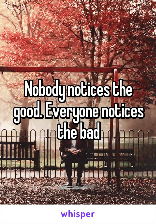 Nobody notices the good. Everyone notices the bad