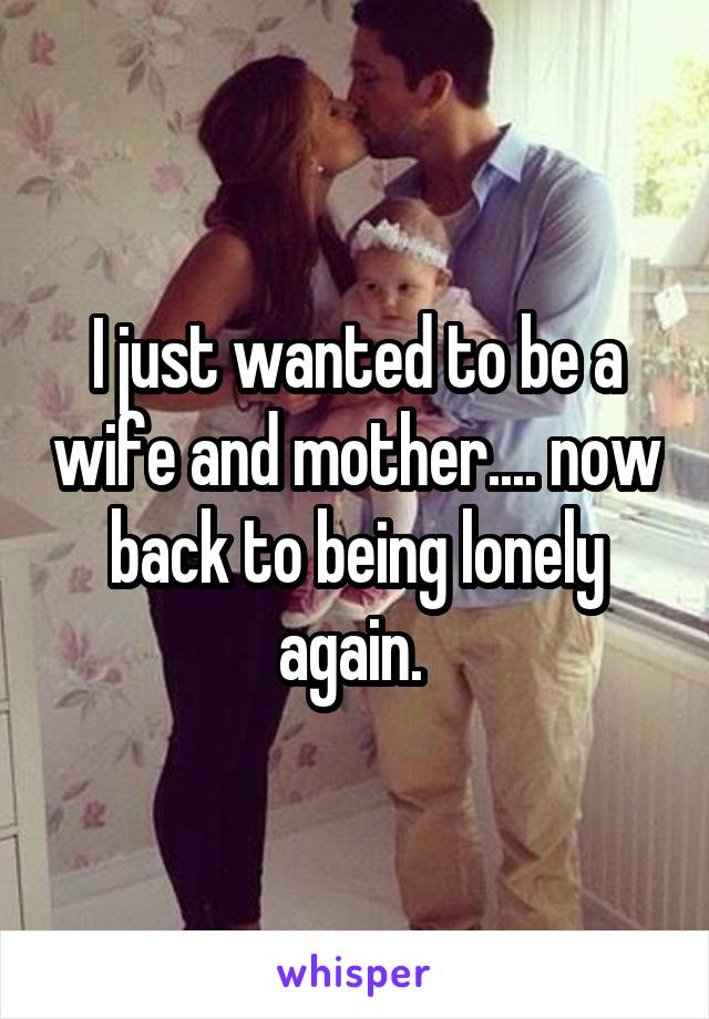 I just wanted to be a wife and mother.... now back to being lonely again.