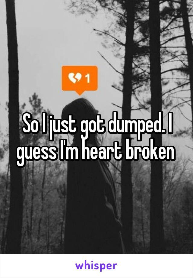 So I just got dumped. I guess I'm heart broken