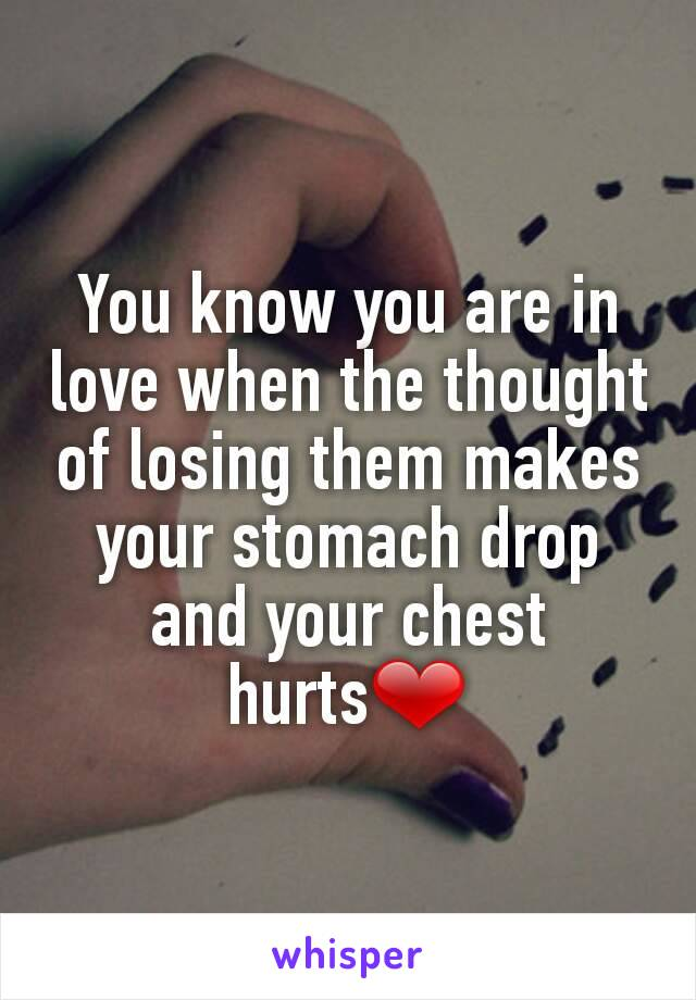 You know you are in love when the thought of losing them makes your stomach drop and your chest hurts❤
